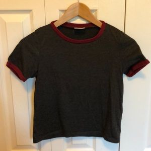 Gray and Maroon Crop top